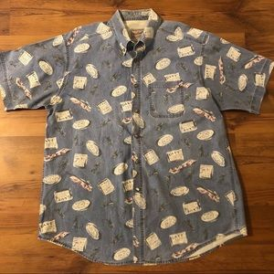 Woolrich Button Down Shirt Fly Fishing Fish Print
